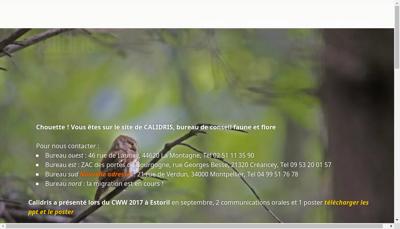 Capture d'écran du site de Calidris
