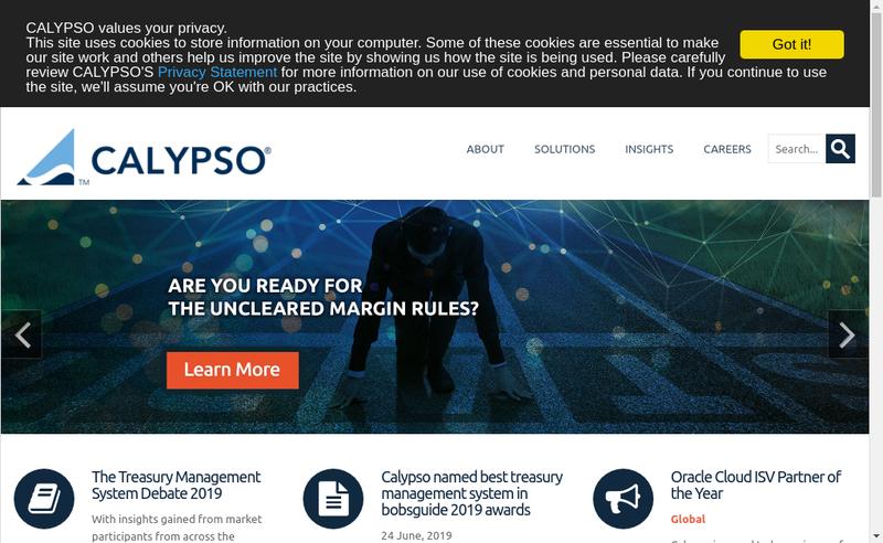 Capture d'écran du site de Calypso Technology