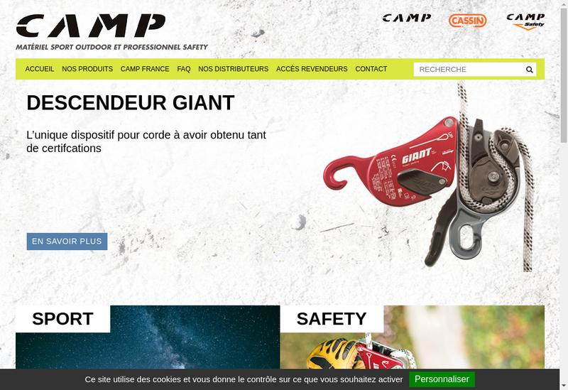 Capture d'écran du site de Camp France