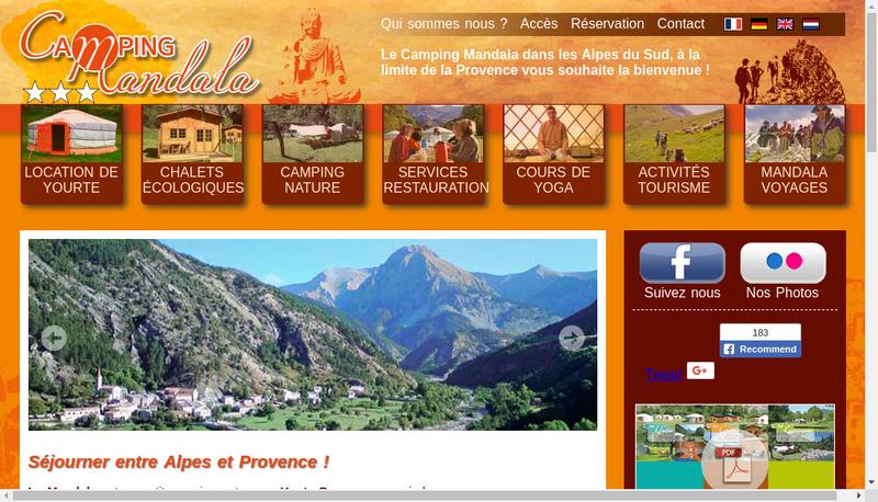 Capture d'écran du site de Camping Mandala