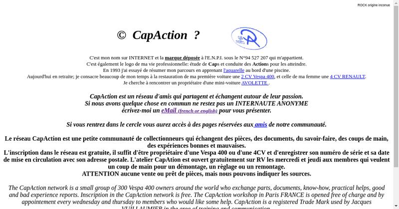 Capture d'écran du site de Capaction