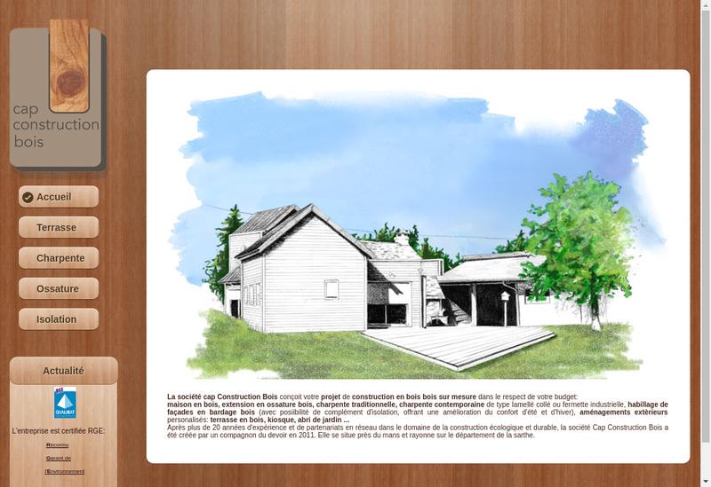 Capture d'écran du site de Cap Construction Bois
