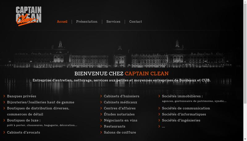 Capture d'écran du site de Captain Clean