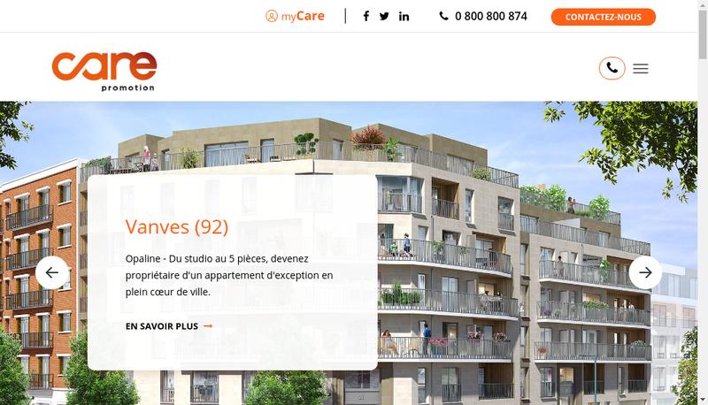 Capture d'écran du site de Care Promotion