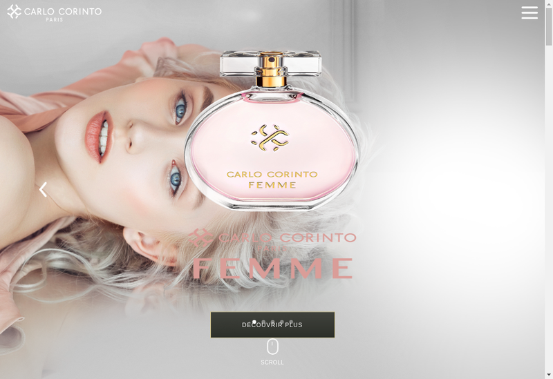 Capture d'écran du site de Parfums Carlo Corinto Paris