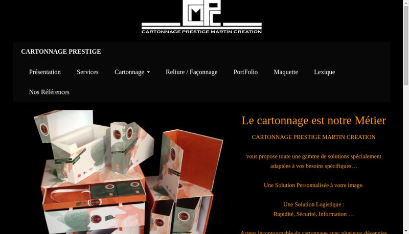 Capture d'écran du site de Cartonnage Prestige Martin Creation