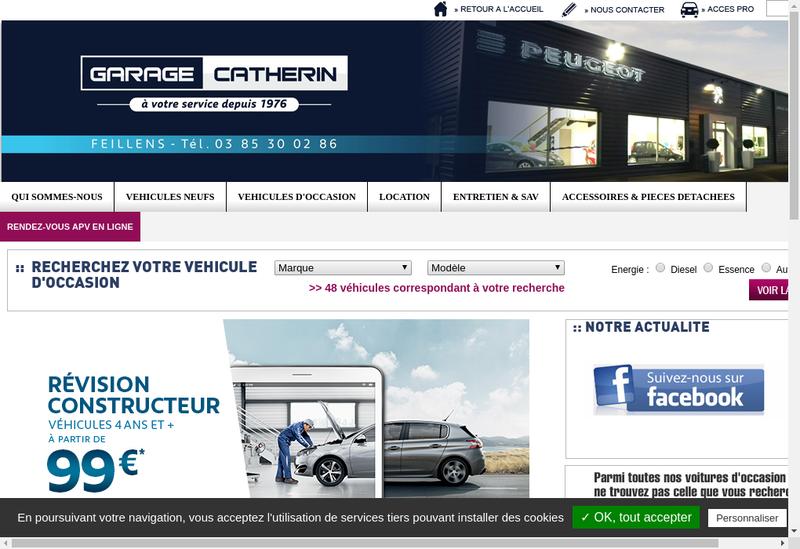 Capture d'écran du site de Garage Catherin