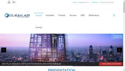 Capture d'écran du site de Clean Air Technologies SAS