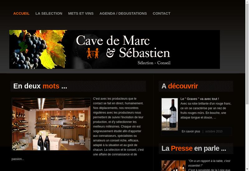 Capture d'écran du site de Cave de Marc et Sebastien