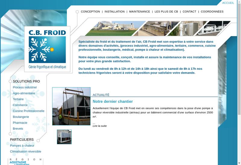Capture d'écran du site de Cb Froid