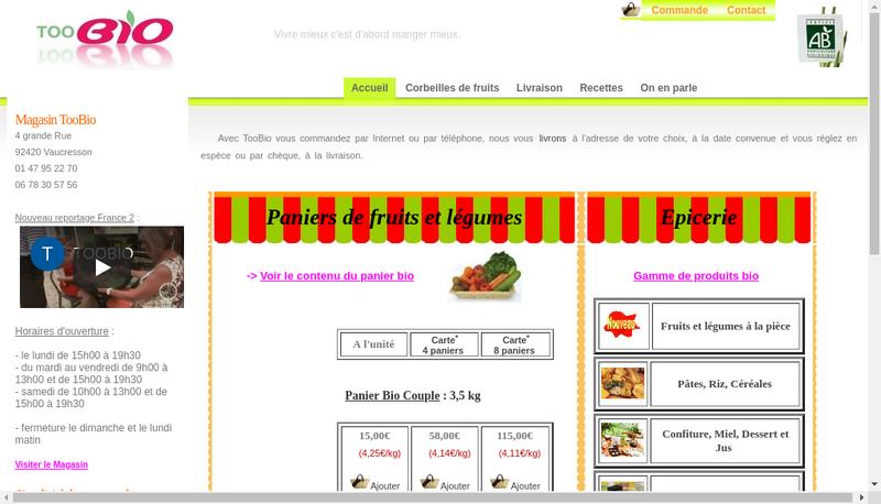 Capture d'écran du site de Toobio