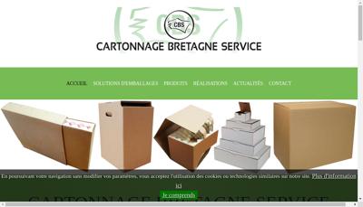 Capture d'écran du site de Cartonnage Bretagne Service