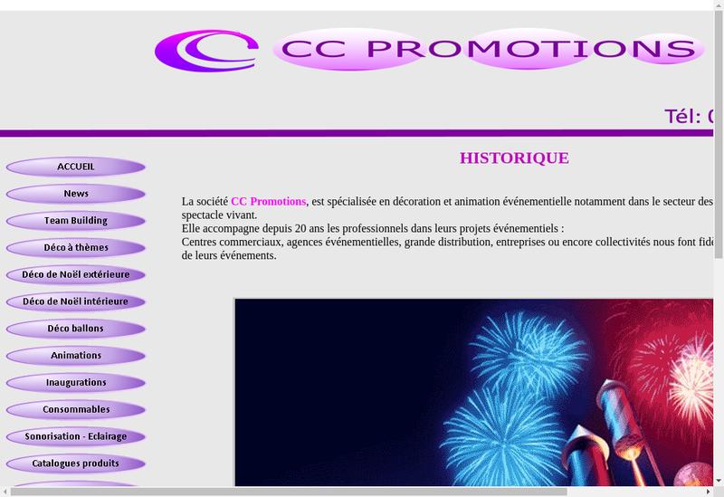 Capture d'écran du site de CC Promotions