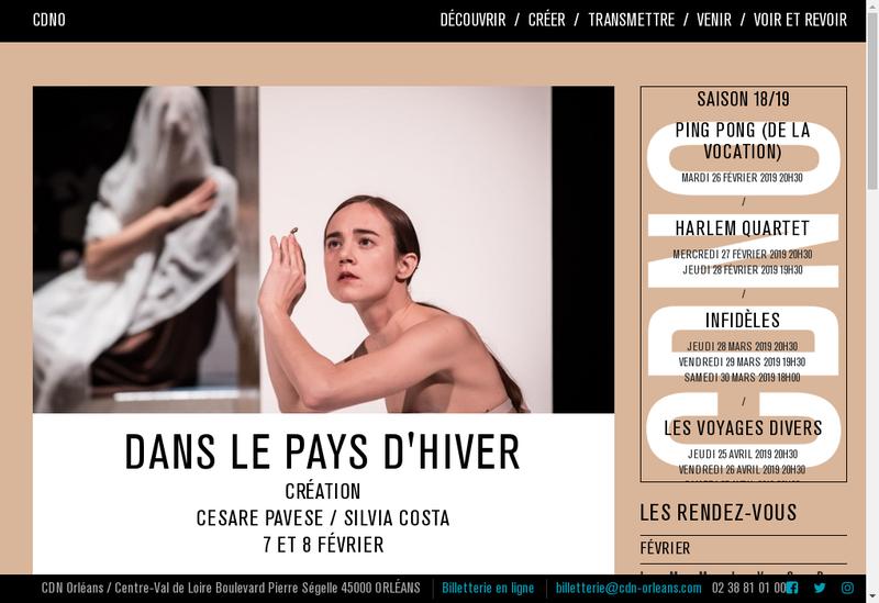 Capture d'écran du site de Centre Dramatique National d'Orleans