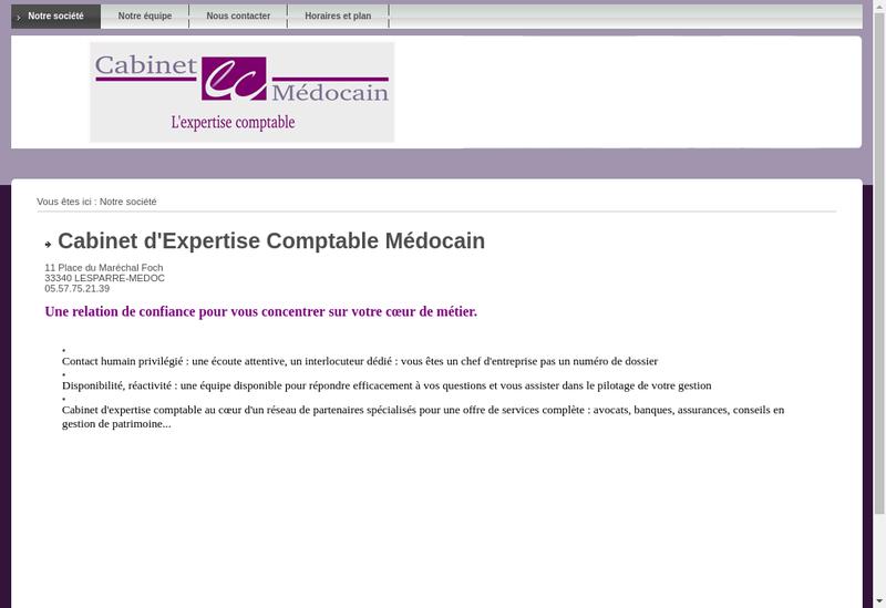 Capture d'écran du site de Cabinet d'Expertise Comptable Medocain