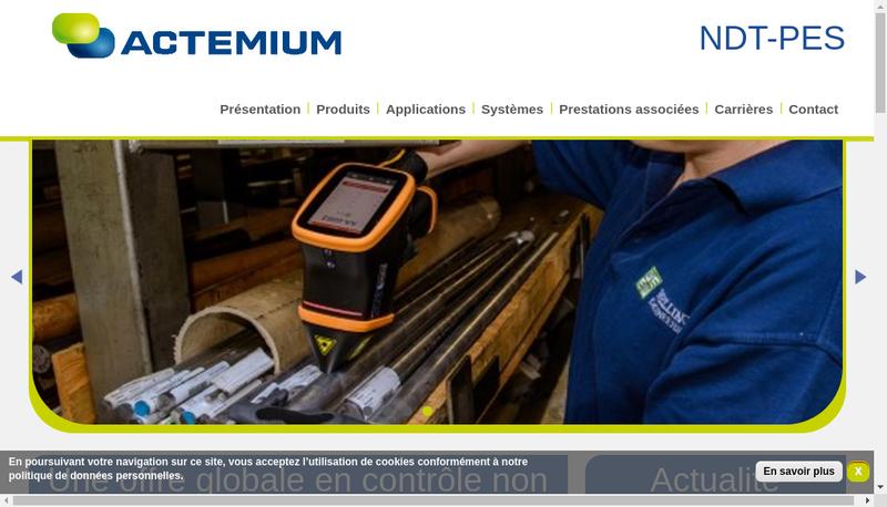 Capture d'écran du site de Actemium