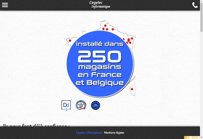 Capture d'écran du site de Cegelec Informatique