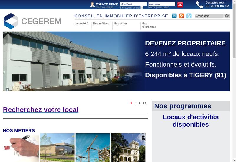 Capture d'écran du site de Cegerem