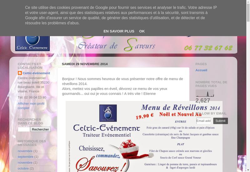 Capture d'écran du site de Celtic Evenement