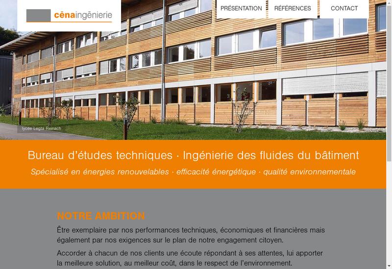 Capture d'écran du site de Cena Ingenierie