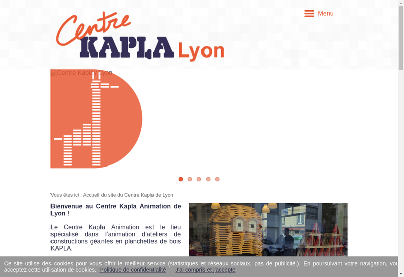 Capture d'écran du site de Centre Kapla Animation