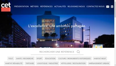 Capture d'écran du site de Cet Ingenierie