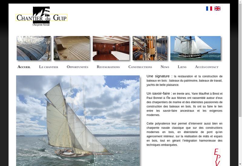Capture d'écran du site de Chantier du Guip