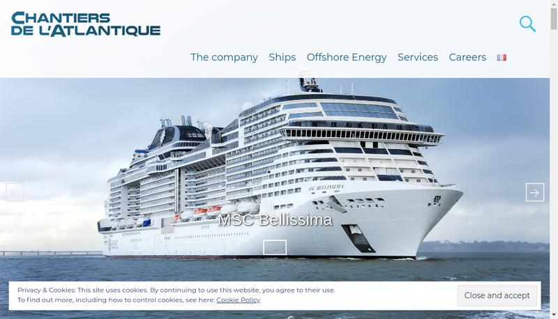 Capture d'écran du site de Chantiers de l'Atlantique