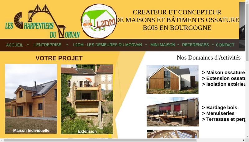 Capture d'écran du site de Les Charpentiers du Morvan