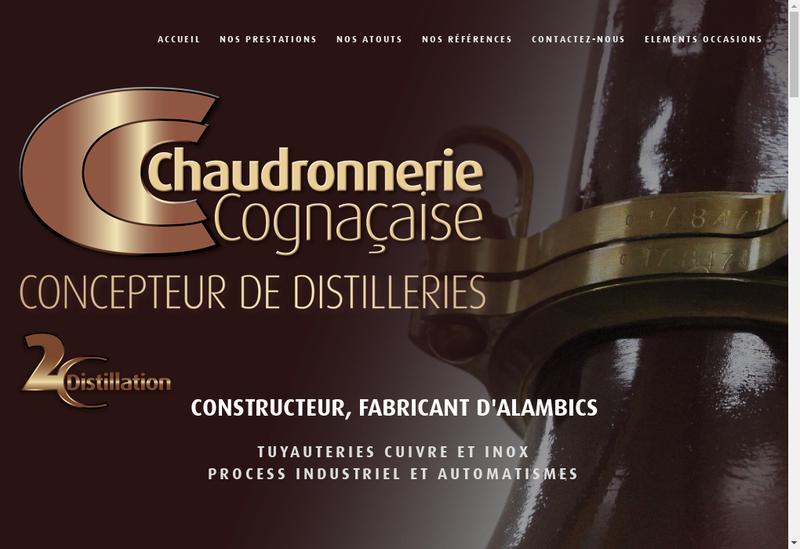 Capture d'écran du site de Chaudronnerie Cognacaise