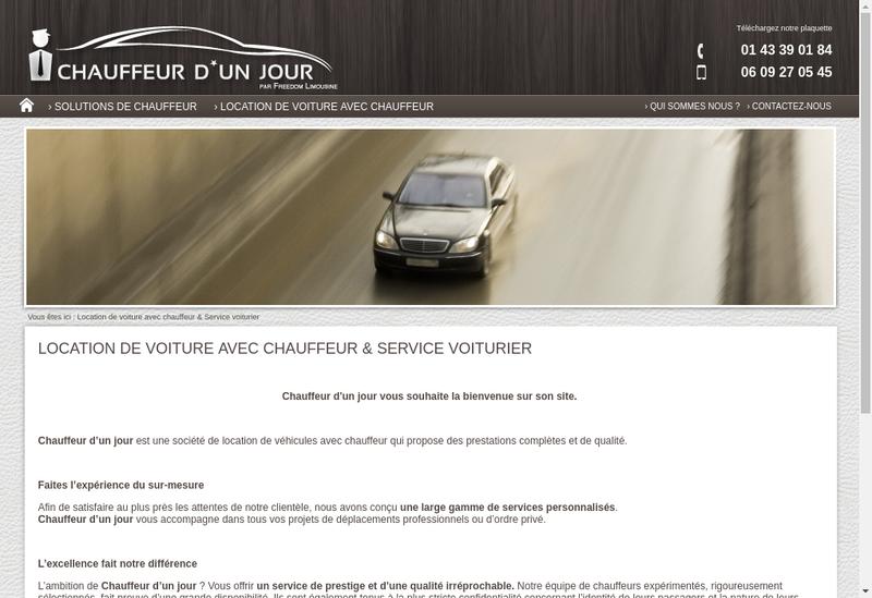 Capture d'écran du site de Chauffeur d'Un Jour