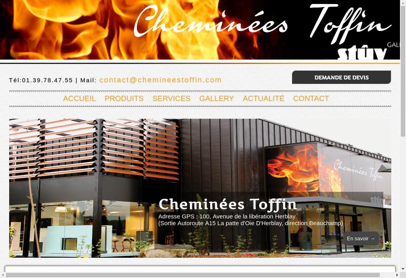 Capture d'écran du site de Cheminees Toffin
