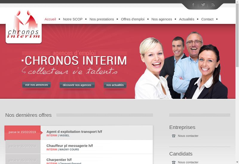 Capture d'écran du site de Chronos Interim