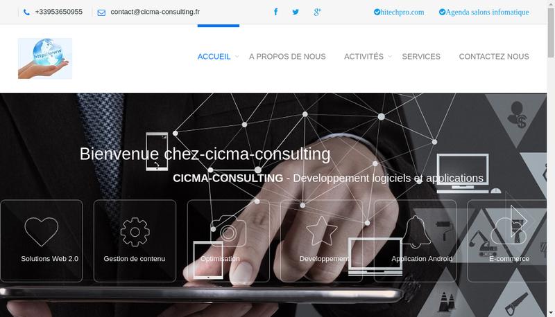 Capture d'écran du site de Cicma
