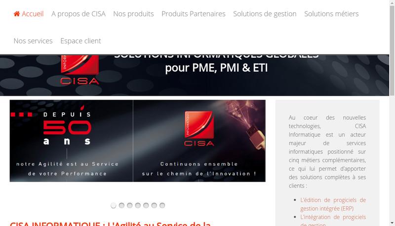 Capture d'écran du site de Cis Informatique