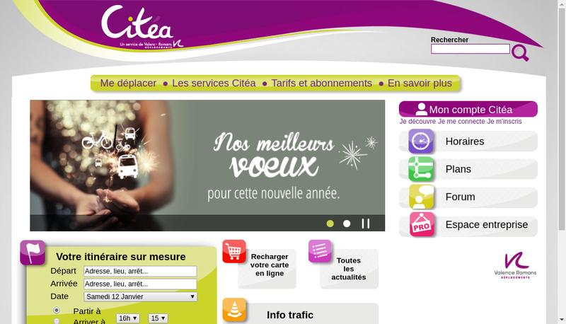 Capture d'écran du site de Transdev Valence