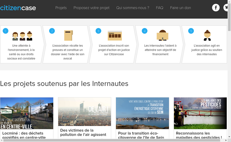 Capture d'écran du site de Citizen Case