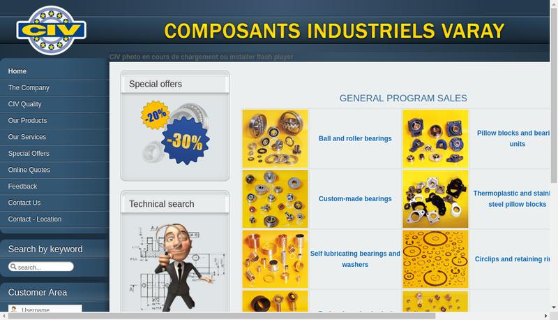 Capture d'écran du site de Composants Industriels Varay