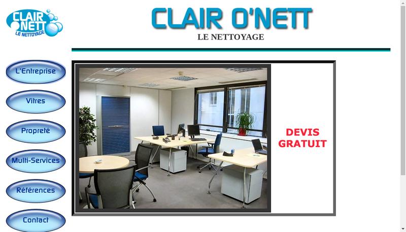 Capture d'écran du site de Clair O Nett