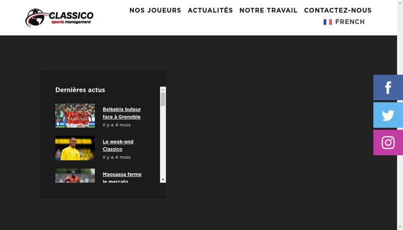 Capture d'écran du site de Classico Sports Management