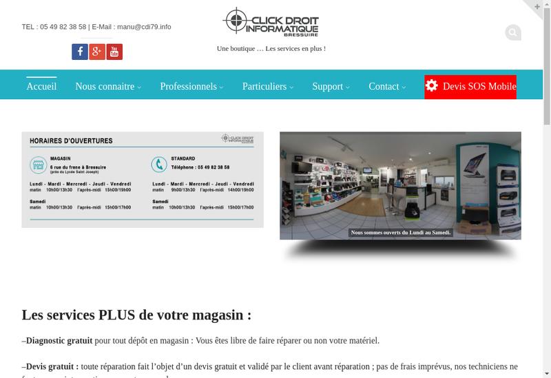 Capture d'écran du site de SARL Click Droit Informatique