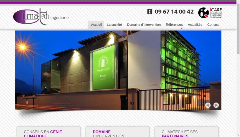 Capture d'écran du site de Clima Tech Ingenierie