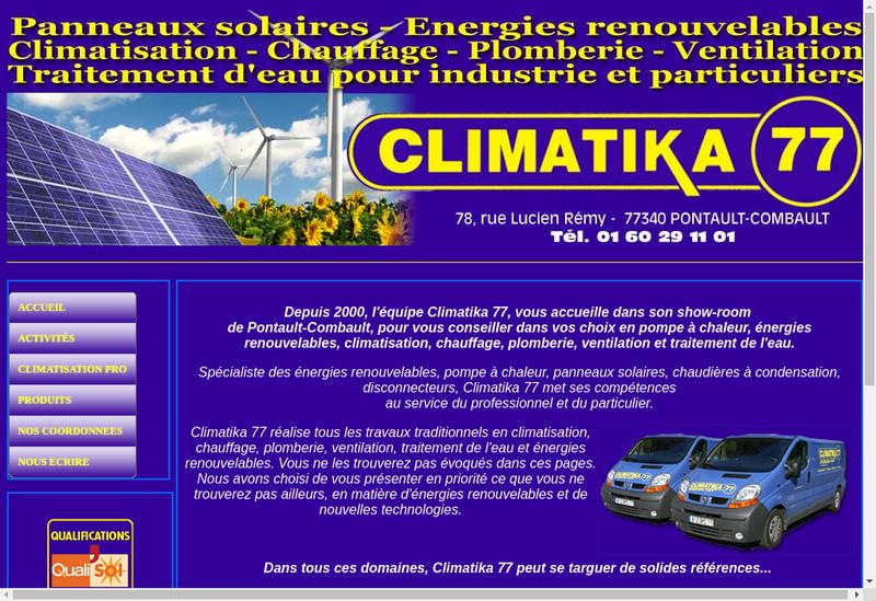 Capture d'écran du site de Climatika 77