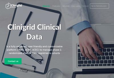 Capture d'écran du site de Clinigrid