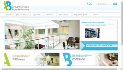 Capture d'écran du site de Clinique Belledonne