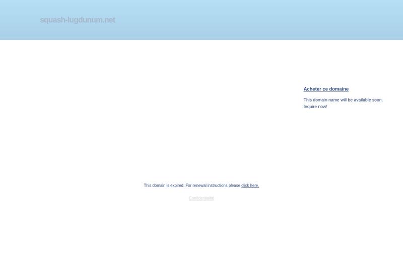 Capture d'écran du site de Squash Lugdunum