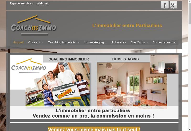 Capture d'écran du site de Coachissimmo
