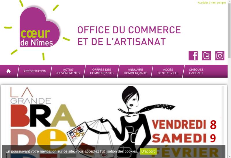 Capture d'écran du site de Office de Commerce et de l'Artisanat