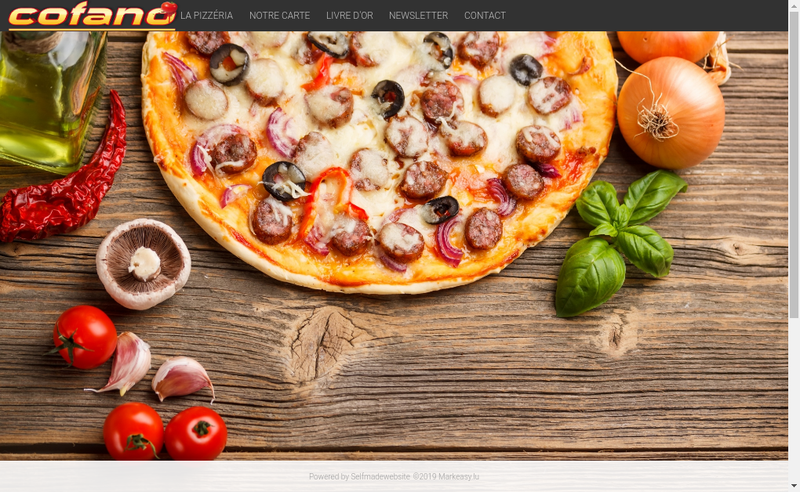 Capture d'écran du site de Cofano Pizza