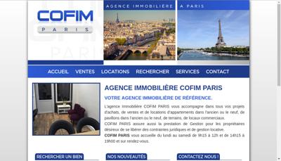 Capture d'écran du site de Cofim Paris